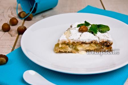 Яблочно-ореховый пирог со сливочным кремом