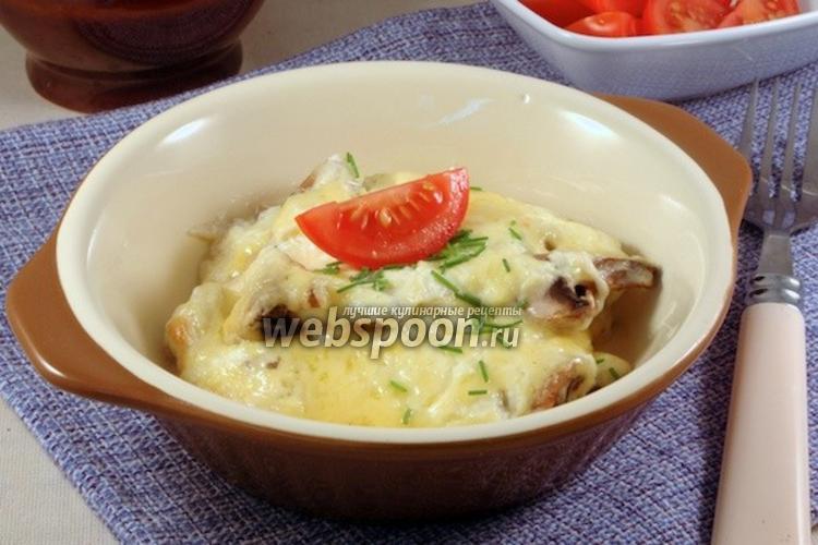 Фото Шампиньоны со сыром и сметаной