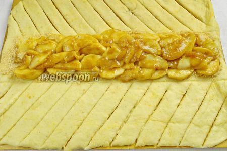 На крошку печенья, в середину пирога выложить яблочную начинку.