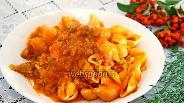Фото рецепта Ракушки с ароматным мясом и сырным соусом