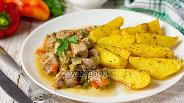 Фото рецепта Свинина в огуречном рассоле с солёными огурцами и сладким перцем