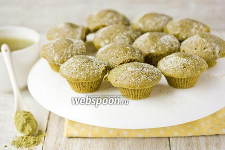 «Зелёные» кексы с чаем маття в микроволновке
