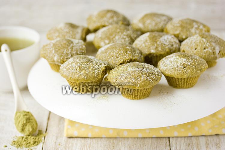 Фото «Зелёные» кексы с чаем маття в микроволновке