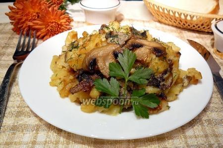Жареная картошка с грибами и сливками