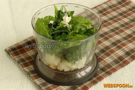 В чашу блендера поместить очищенный и крупно нарезанный лук, очищенный чеснок, укроп, листья базилика.