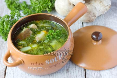 Суп с белыми грибами и шпинатом