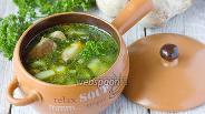 Фото рецепта Суп с белыми грибами и шпинатом