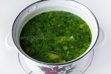 Также вместе с петрушкой добавляем в суп куркуму и чёрный молотый перец. Перемешиваем. Даём супу закипеть и сразу снимаем кастрюлю с огня.