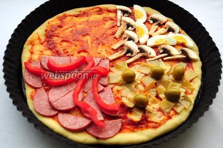 «Лето» выкладывается из салями и сладкого перца.
