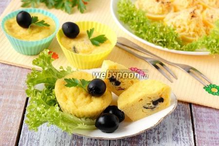 Кексы с сыром и оливками в микроволновке