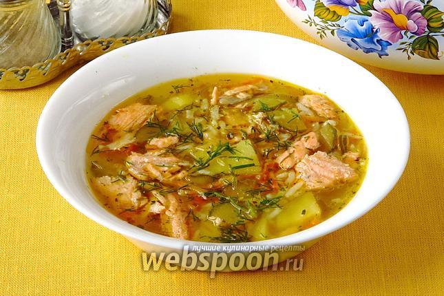 Фото Рассольник с лососем и рисом