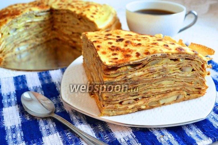 Фото Блинный пирог с грибами
