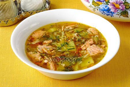 Рассольник с лососем и рисом