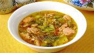 Фото рецепта Рассольник с лососем и рисом