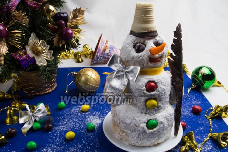 Фото Песочный торт «Снеговик» с заварным кремом