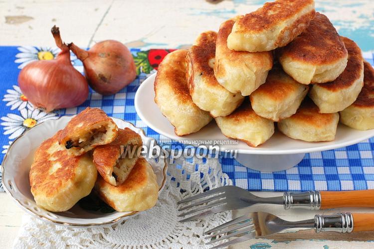 Фото Пирожки с картофелем, луком и грибами жареные
