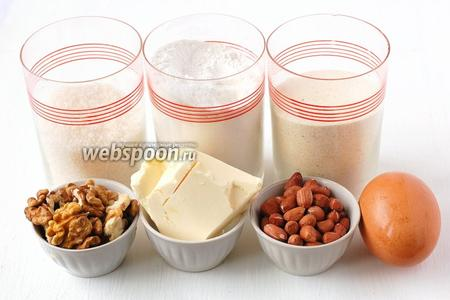 Для приготовления орехово-арахисового печенья нам понадобится сахар, мука, манка, масло, яйцо, орехи грецкие, арахис.