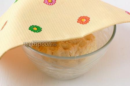 Накрыть тесто полотенцем и поставить в тёплое место на 45 минут. За это время 2 раза обомнуть тесто.