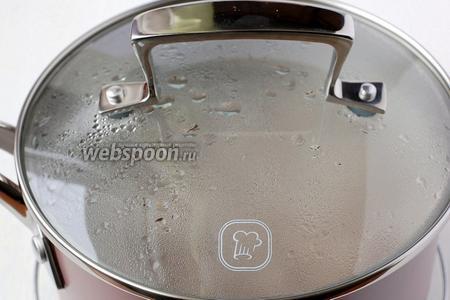 Залить обжаренную гречку залить 2 стаканами кипятка с солью (ровно 2 стаканами и именно кипятка, соотношение гречки и воды должно быть только 1:2). Кастрюлю плотно закрыть крышкой и ни в коем случае не открывать 15-17 минут. За это время гречка полностью сварится и впитает всю воду.