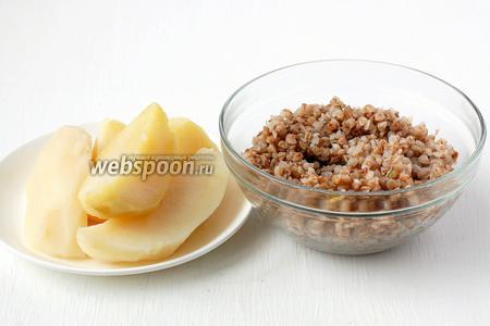 Картофель и гречку отварить до готовности, по отдельности.