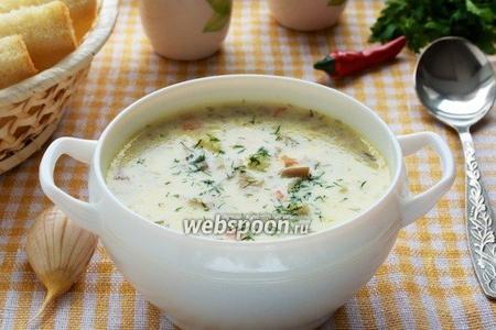 Суп из вёшенок с плавленым сырком