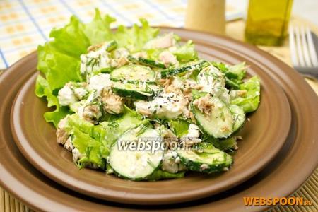 Зелёный салат с тунцом и сыром Фета