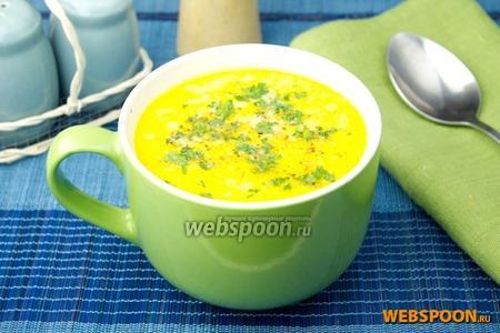 Сырный суп с печёным перцем
