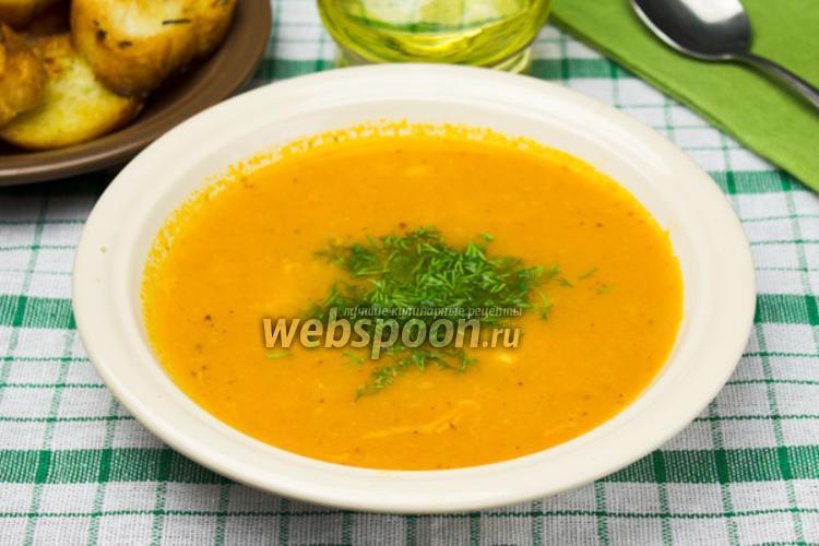 Фото Томатный крем-суп с креветками