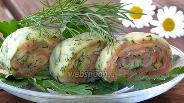 Фото рецепта Сырный рулет с солёной сёмгой