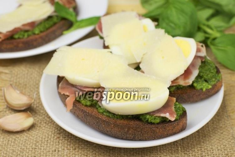Фото Бутерброды с прошутто и соусом песто