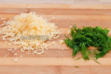 Картошку отвариваем в шкурке в слегка подсоленной воде около 20 минут. В этом время на мелкой терке натираем сыр и режем укроп.