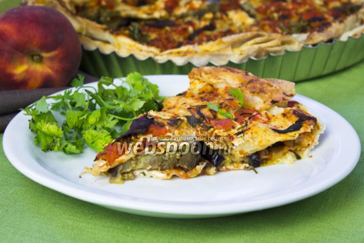 Фото Слоёный пирог из лаваша с баклажанами