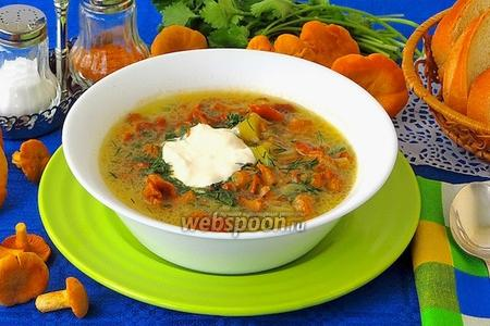 Суп с лисичками