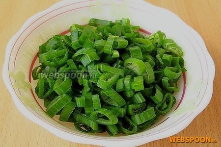 Зелёный лук нашинковать тонкими колечками.