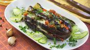 Фото рецепта Баклажаны с моцареллой и овощами на сковороде
