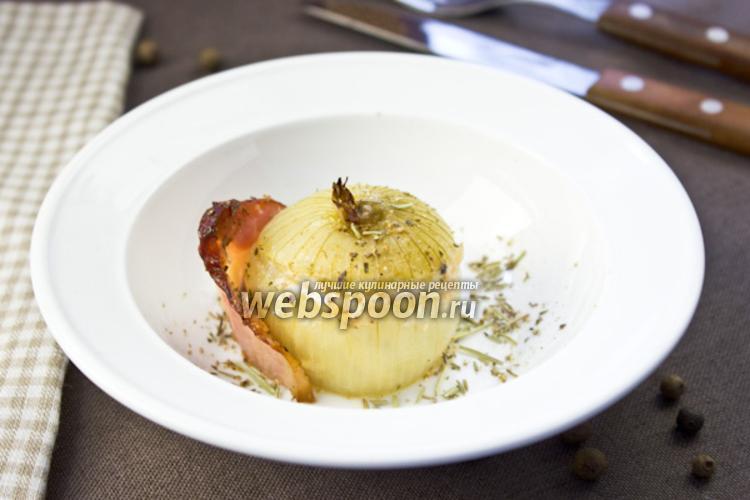 Фото Печёный лук с пармезаном