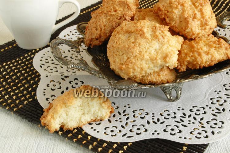 Фото Белковое печенье с кокосовой стружкой