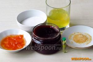 Для приготовления начинки нужно взять яичные белки, абрикосовый джем, сахар, желатин, повидло (например,  из яблок и ежевики ) и каплю лимонной эссенции.