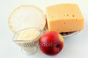 Для приготовления салата нам понадобится сельдерей, сыр, яблоки, майонез, соль, перец чёрный молотый.