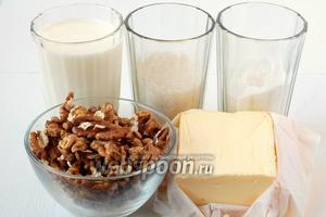 Для приготовления масляно-орехового крема нам понадобится молоко, грецкие орехи, сахар, сахарная пудра, масло сливочное.