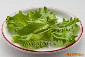 Для порционного оформления салата на тарелку положите 5 листьев салата.