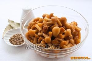 Для приготовления малосольных грибов вам понадобятся опята или другие резанные грибы, соль, сахар, вода, 1 ч. л. семян укропа, 3 лавровых листа и 1 ч. л. уксусной эссенции (70 %).