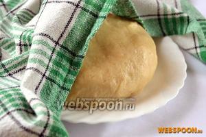 Извлечённое из холодильника тесто согреваем при комнатной температуре 30 минут и немного вымешиваем без добавления муки, или слегка припорошив поверхность.