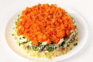 Далее — слой из натёртой отварной моркови.