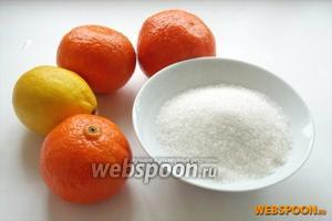 Для приготовления джема из мандарин нам понадобятся: мандарины, лимон и сахар.
