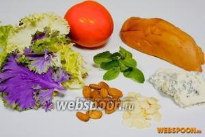 Необходимые ингредиенты для салата: несколько видов салатного листа, шарон (или хурма), копчёная куриная грудка, сыр горгонзола, миндаль, миндальная стружка, мята.