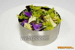 Теперь плотненько укладываем салатный лист, но не ломая его.