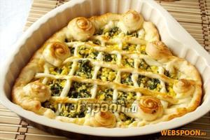 Пирог с яйцом и шпинатом «Мимоза» готов.