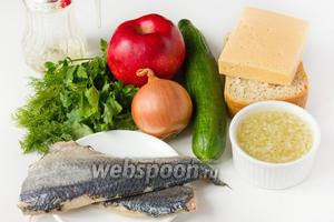 Для приготовления салата нам понадобится филе солёной сельди, свежий огурец, яблоко, репчатый лук, твёрдый сыр, белый хлеб,  зелень петрушки и укропа. В качестве заправки приготовьте  луковую заправку .