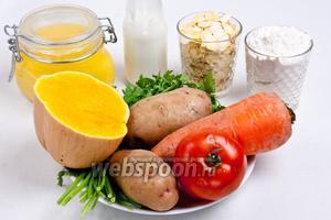 Для приготовления котлет понадобится масло растительное или  топлёное , мука пшеничная, гороховые хлопья, сметана, вода, соль, сода, смесь специй, зелень и любые овощи, например, помидор, морковь, тыква, картофель.